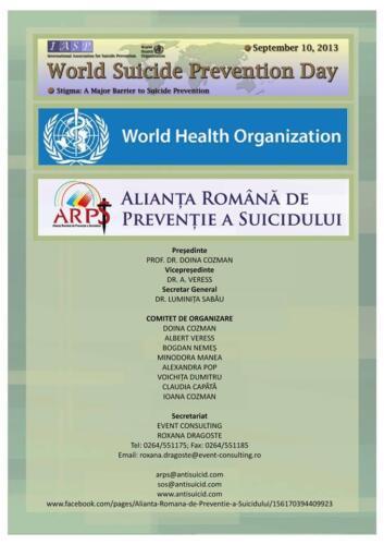 2013, 10 septembrie - Program Ziua Mondială de Prevenție a Suicidului